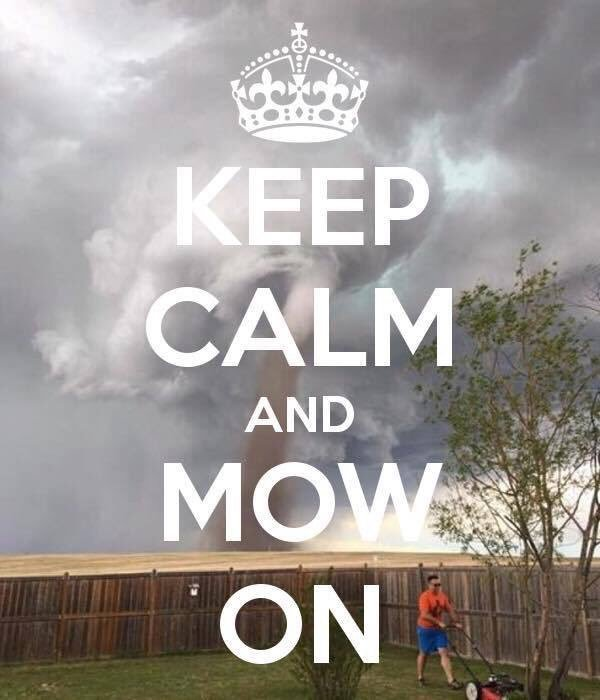 Lawn Mowing Meme  Subcategory: Tornado Meme  This meme has been created in several formats. This is my favorite. This man is determined to mow that lawn, whether or not the hurricane tears it apart in five minute. Because as any man mows, a lawn is made to be mowed. Might as well enjoy it while it lasts!