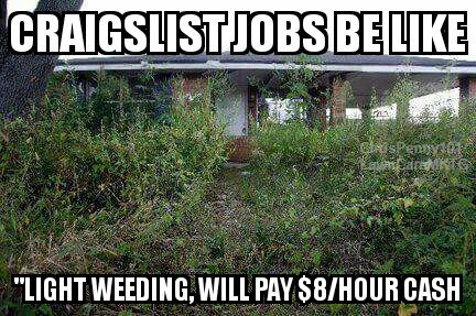 Lawn care Landscaping Labors Meme  When getting a job on Craigslist, or anywhere online, it can easy to find that the lawn care job you signed up for is a bit worse than anticipated. Always see the job before you commit to a price.