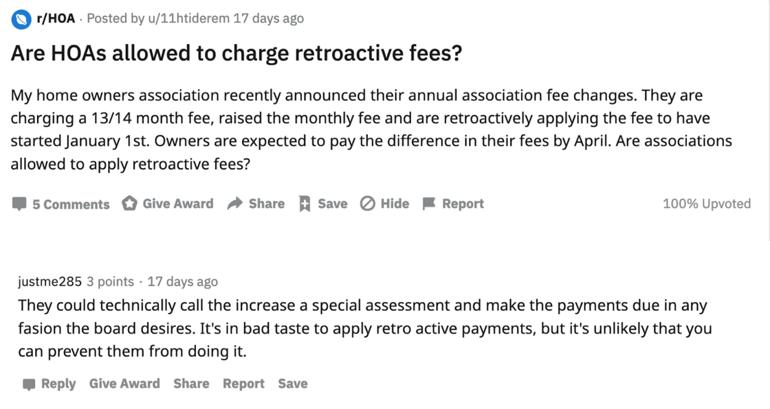 Reddit user talks about homeowners association retroactivly raising fees