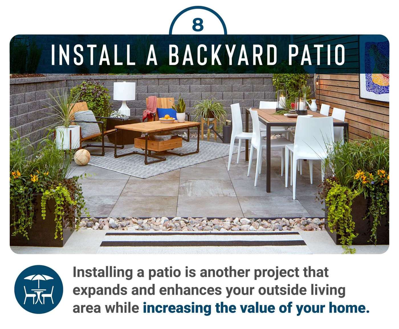 Install a backyard patio