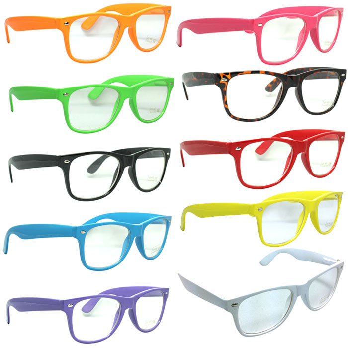 How To Pick Eyeglass Frame Color : Color Clear Lens Wayfarer Sunglasses Nerd Hipster Frame ...