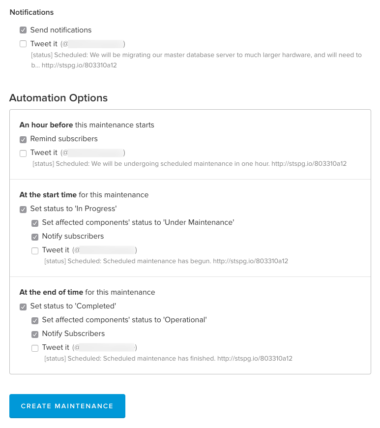 Scheduled Maintenance Automation Options
