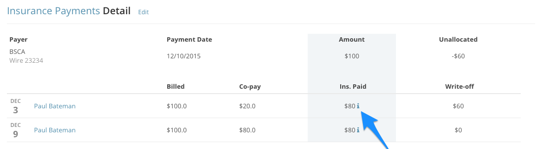 Click the blue next to the Ins. Paid column to get to the Payments Overview page in SimplePractice