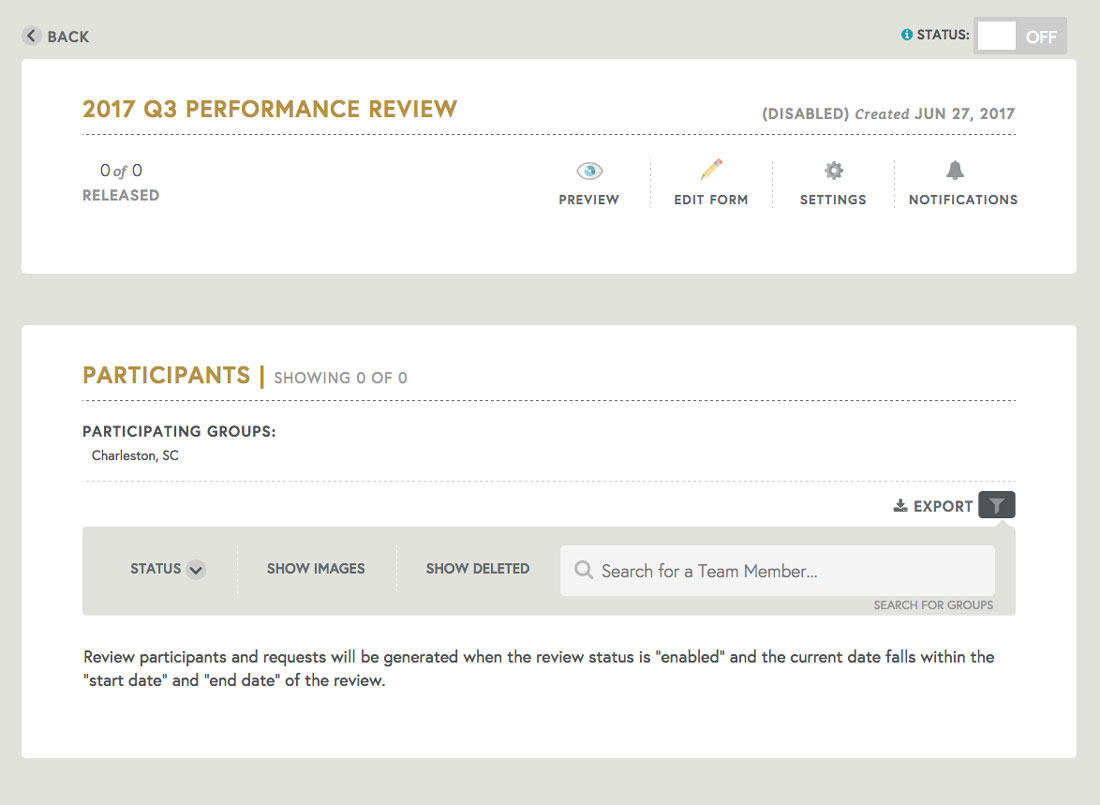 employee performance review status page tracking employee performance