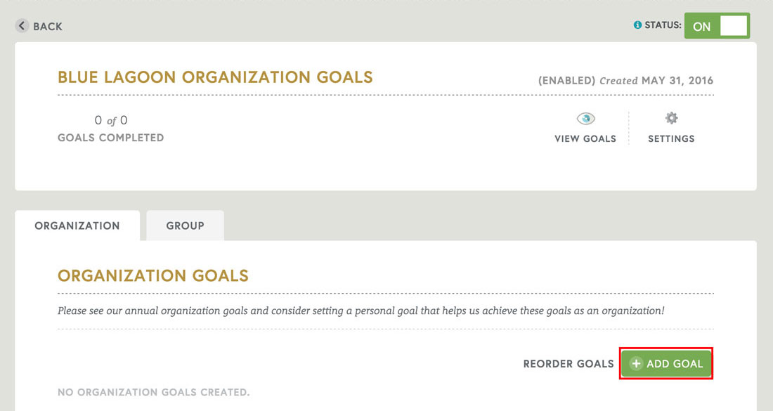 adding an organization goal in employee engagement software