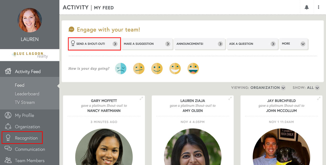 employee engagement software activity feed of employee recognition and employee communication
