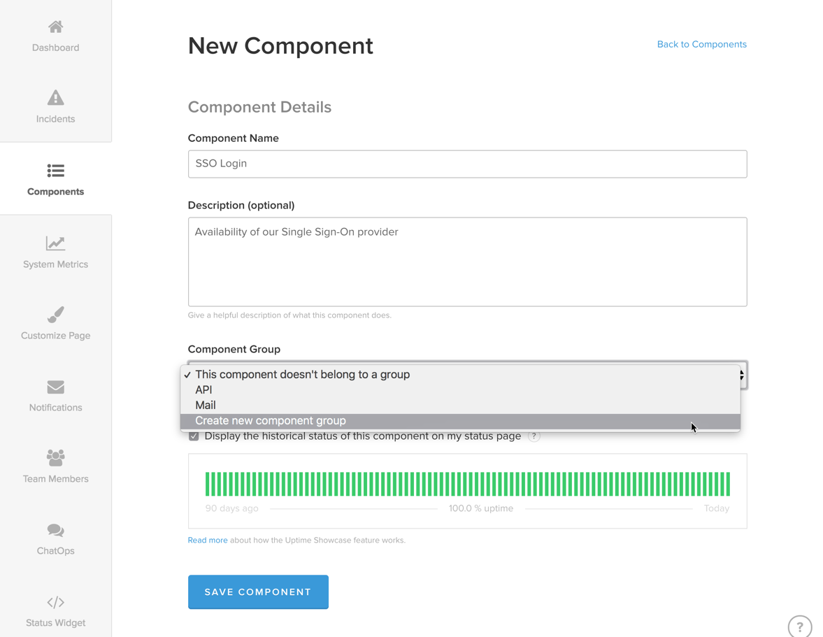 Create New Component Group