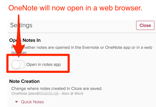 How do I set OneNote to open in a web browser?
