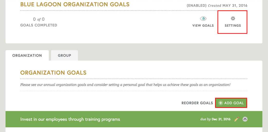 employee engagement platform to add organization and employee goals