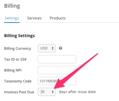 Select the amount of days that need to pass to mark an invoice as past-due in SimplePractice