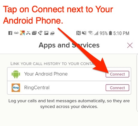 How do I log calls and SMS from my Android phone?