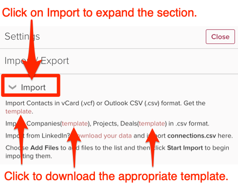 How do I export a CSV template to import my contacts into Cloze?
