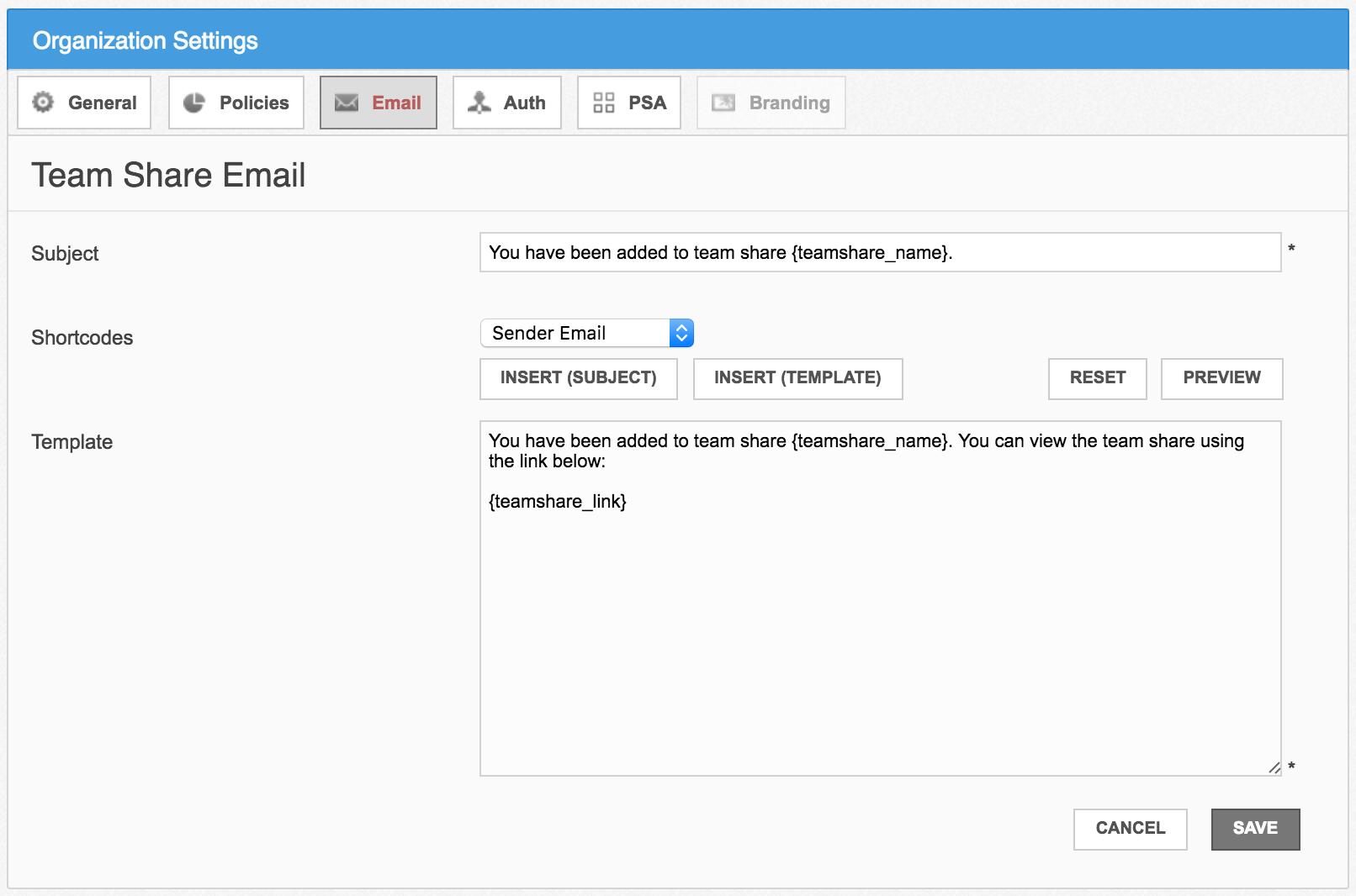 Custom settings: email templates | Nimbox Support