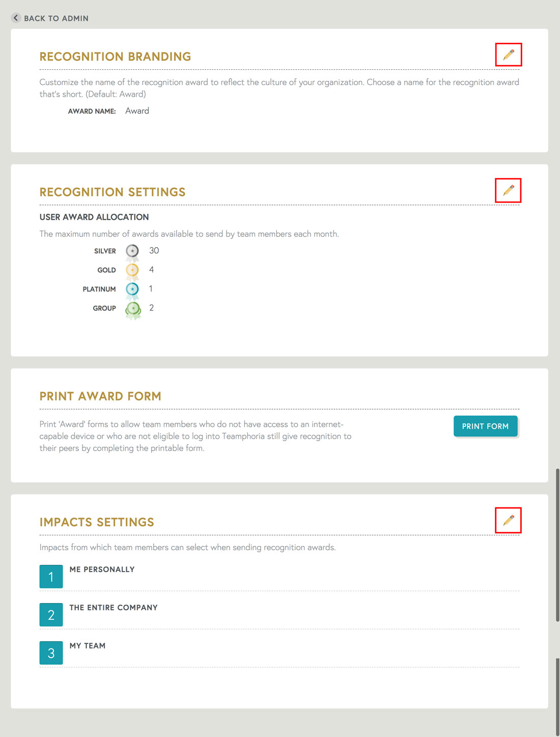 employee recognition templates allow you to choose allotment, employee recognition name and types
