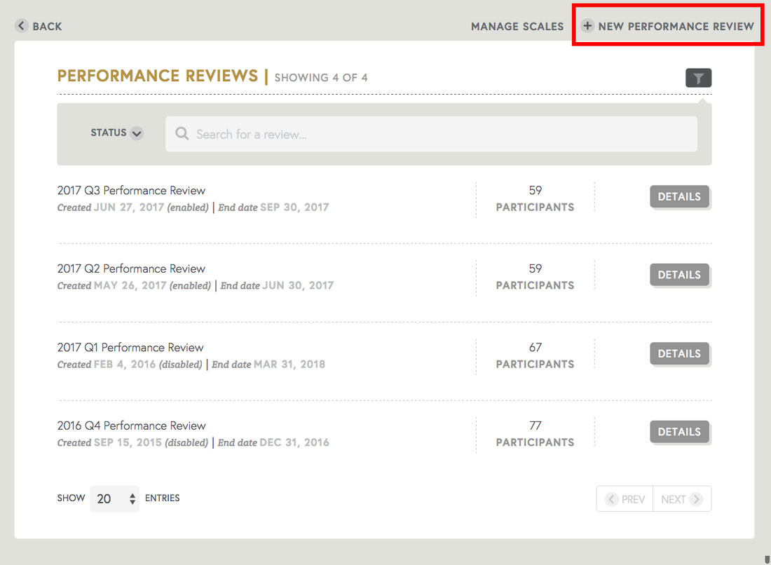 creating a copy of employee performance review templates