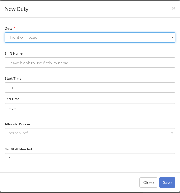 example New Shift form