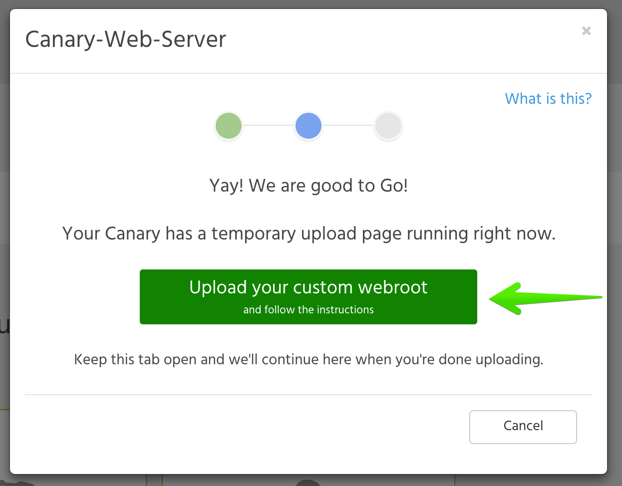 Remotely upload custom webroots to your Canary