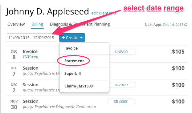 Creating Statements SimplePractice Support - Open invoice statement