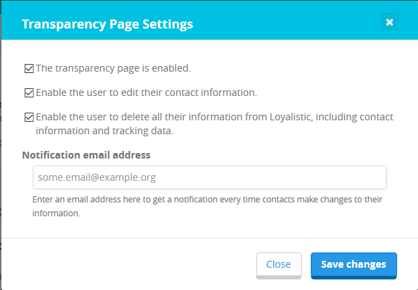 Transparency page settings