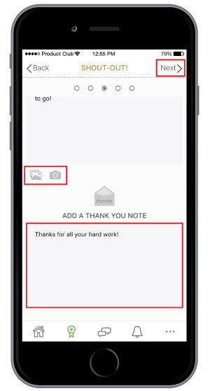 add additional employee communication in personalized note on employee recognition template
