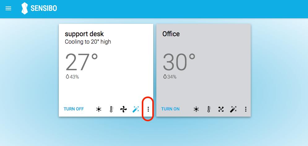 Sensibo Web App more options icon