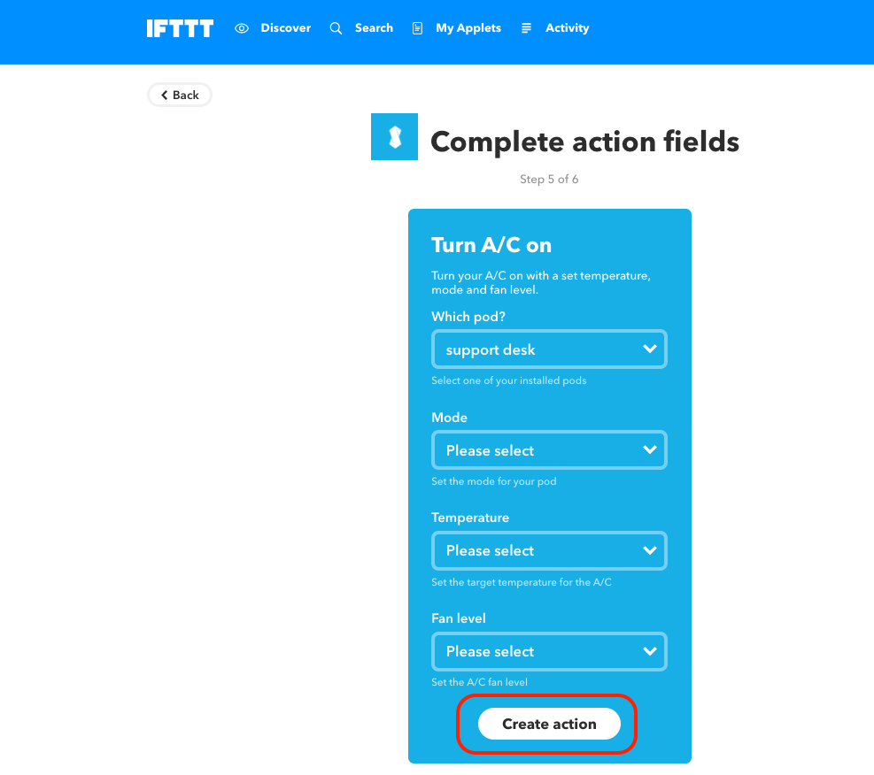 IFTTT webhooks action fields