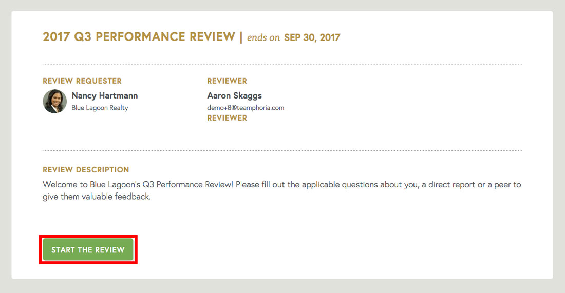 performance review software description page of employee review