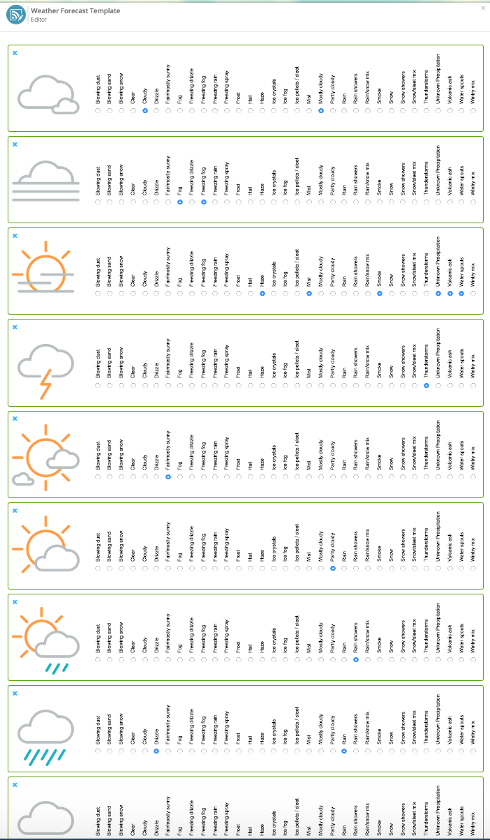 knowledge base kickdynamic assign each weather icon the correct condition using the radio check boxes icons can be used for multiple weather conditions for example partly cloudy
