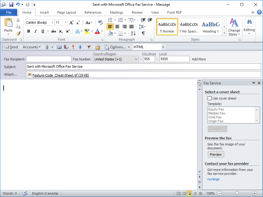Sending faxes with MS Word