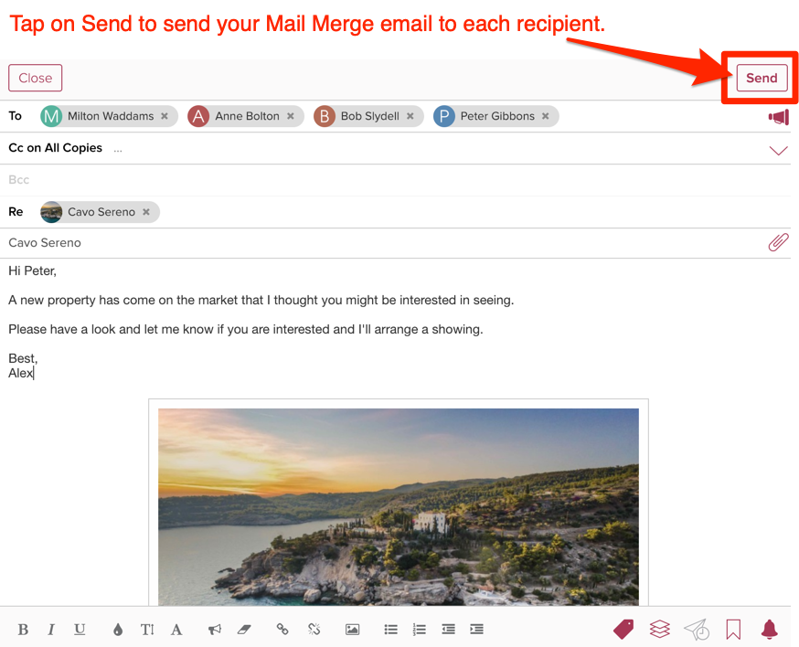How do I create mail-merge emails to send to matching clients?