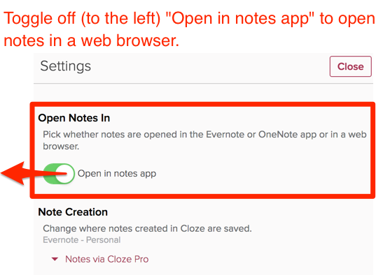 How do I set Evernote to open in a web browser? | Cloze, Inc