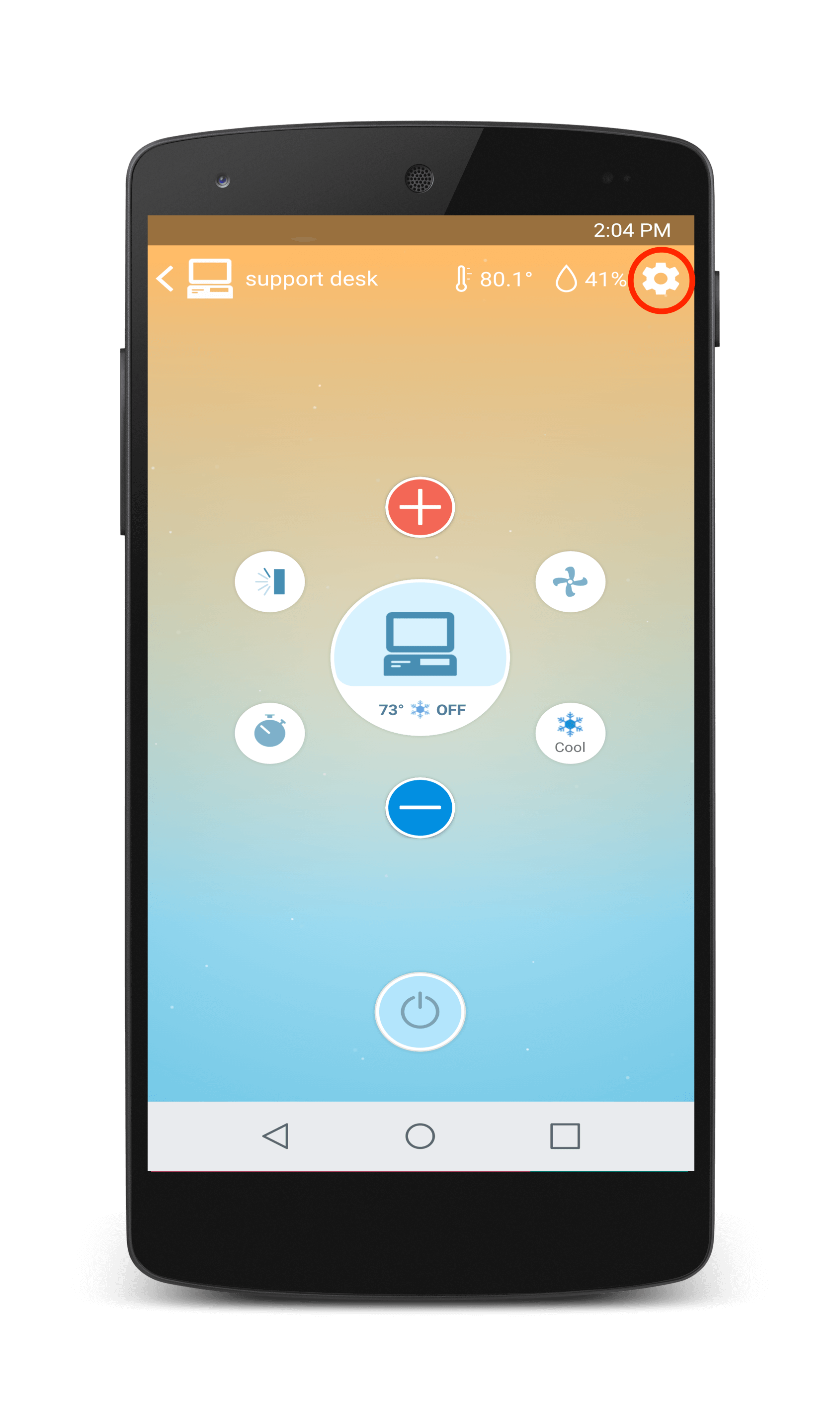 Sensibo app Settings wheel