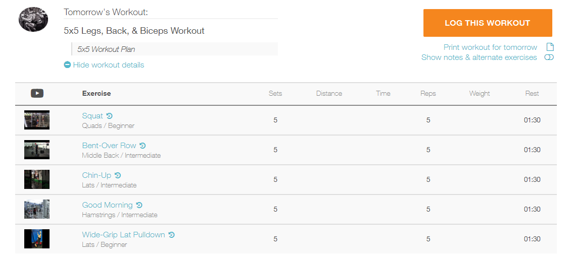 How do I view workout details and log a workout from the