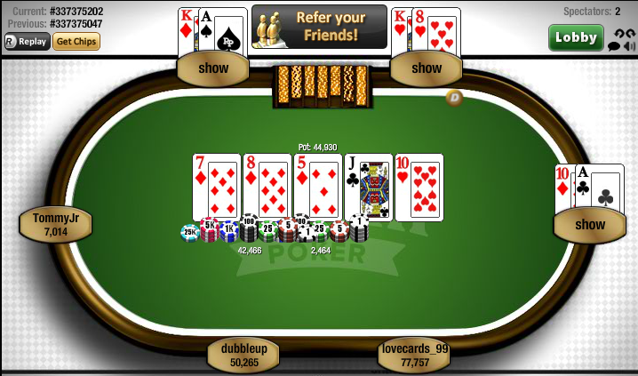 Replay poker tournament