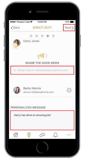 review employee recognition templates before sending on mobile app
