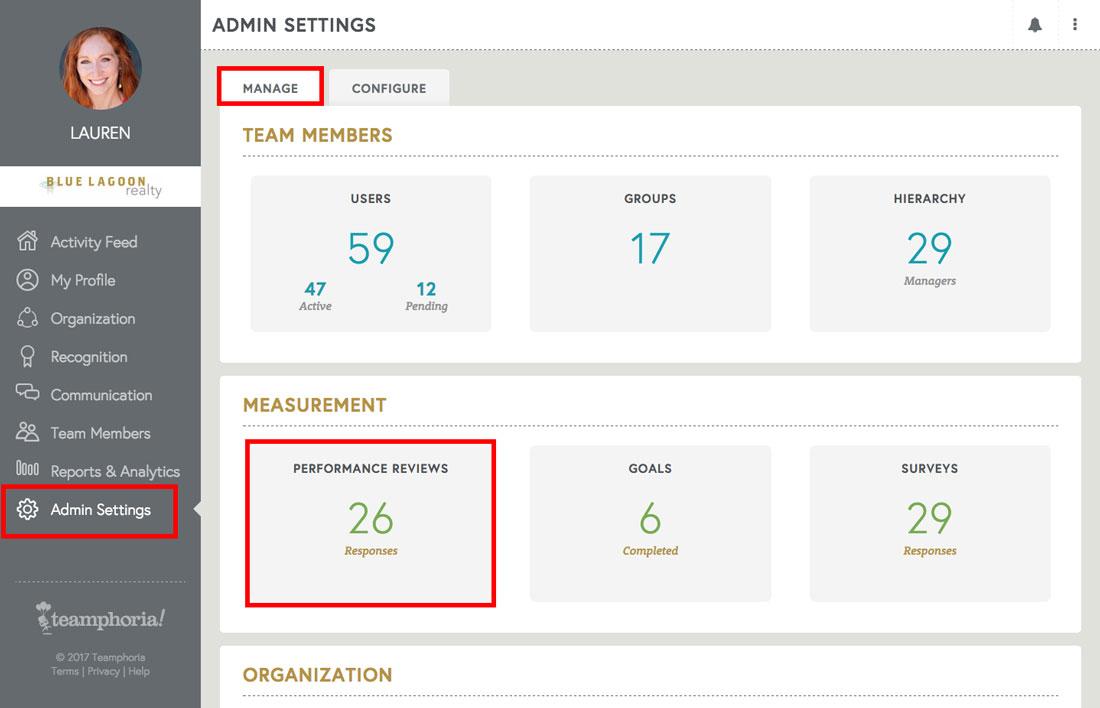 admin view of employee engagement platform