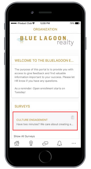 take free culture survey on employee recognition software mobile app