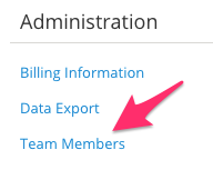 Click the blue Team Members link in the SimplePractice Settings