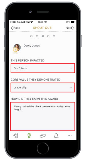 select impacts when sending employee recognition on mobile app