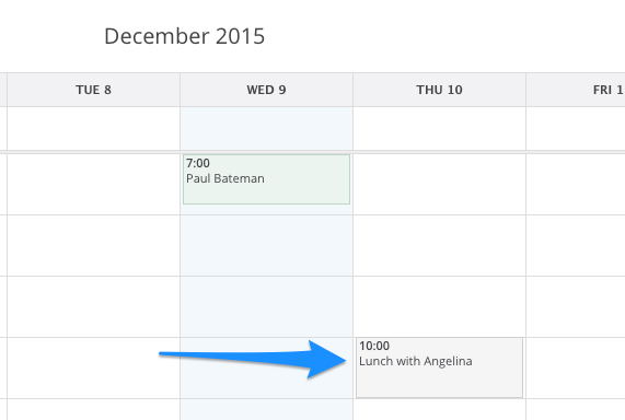 How non-client events look like in the SimplePractice calendar