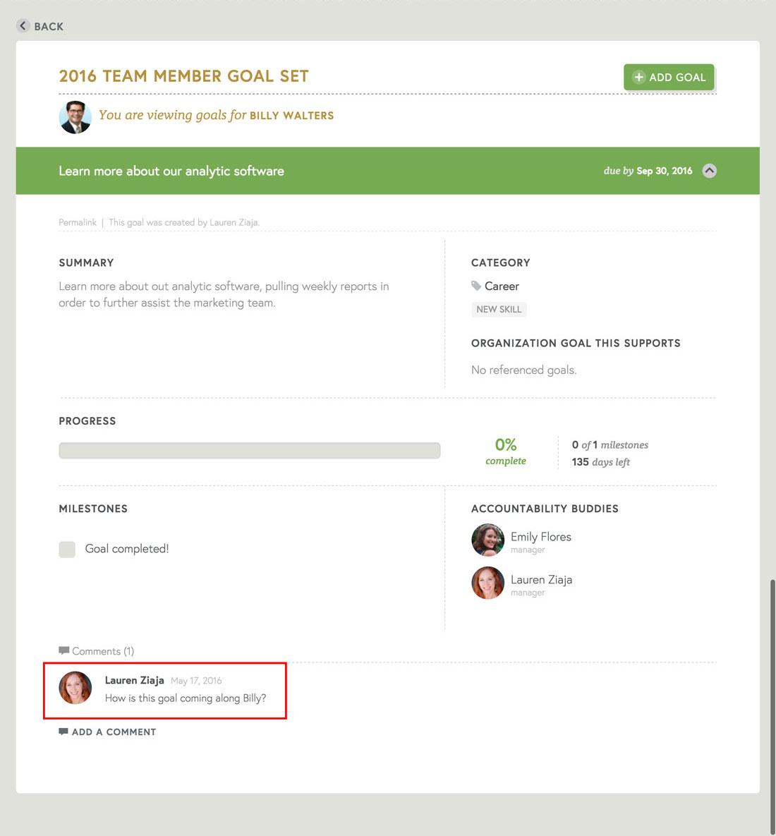 using employee engagement platform for employee communication on goals and goal setting