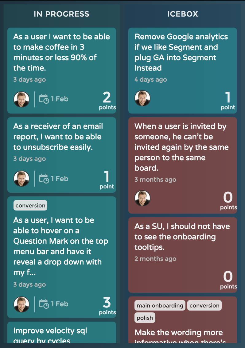 2 Kanban columns showing what it looks like on a board.