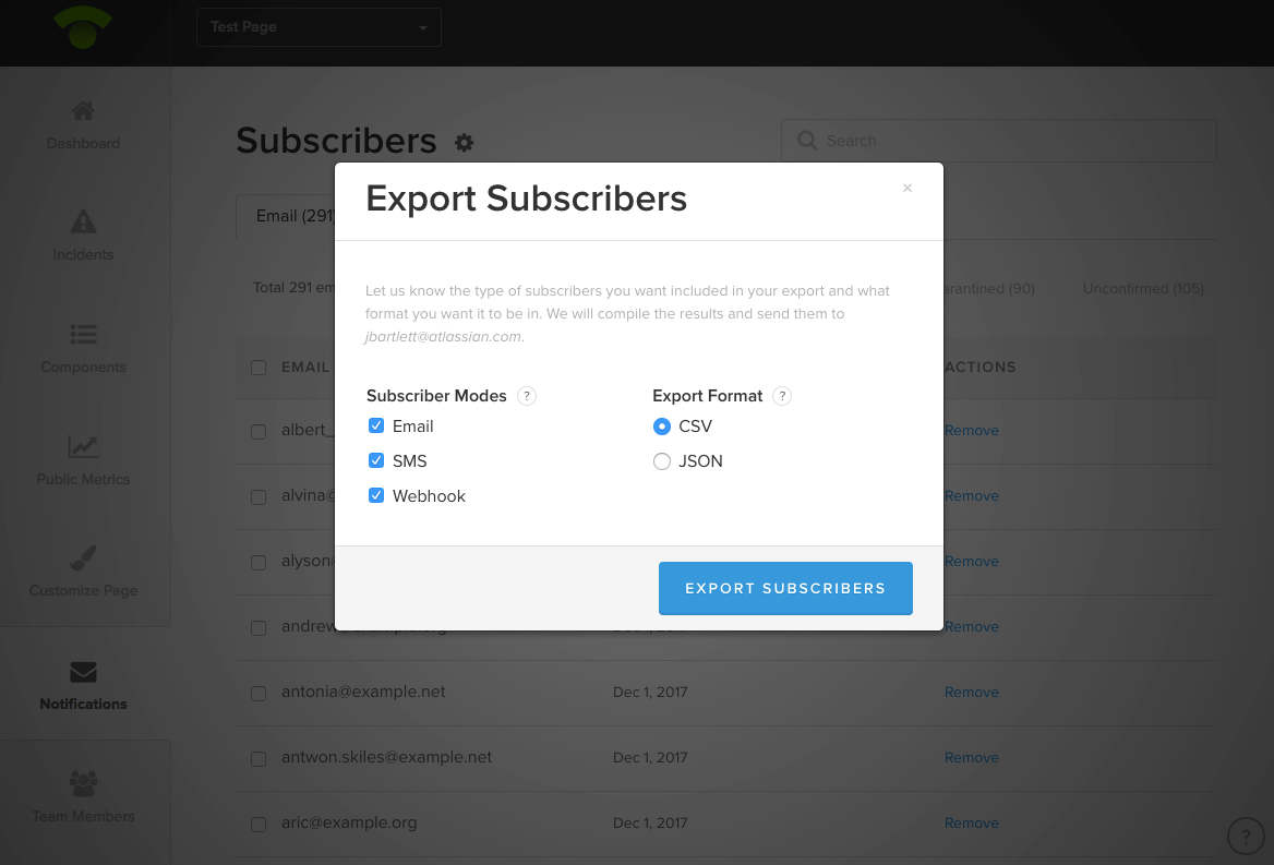 Export Subscribers