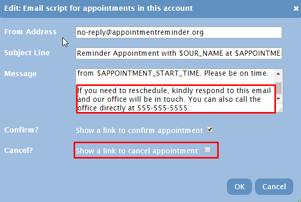 How do I remove the option to cancel an appointment?