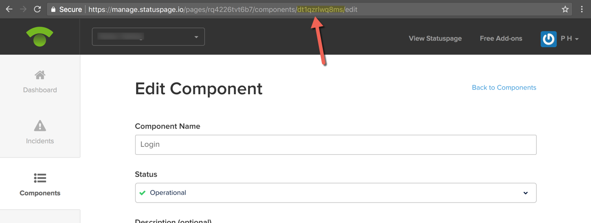 Component ID from URL