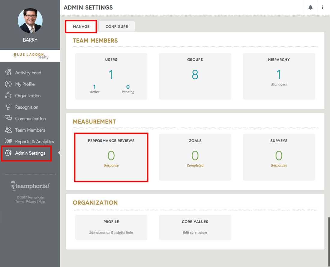 free employee review software admin view