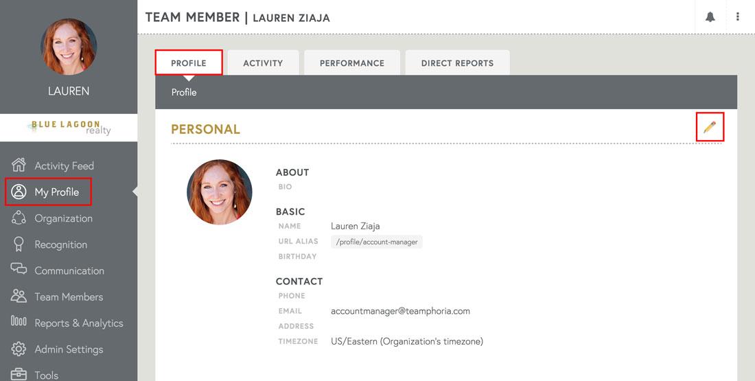 employee profile on employee engagement platform
