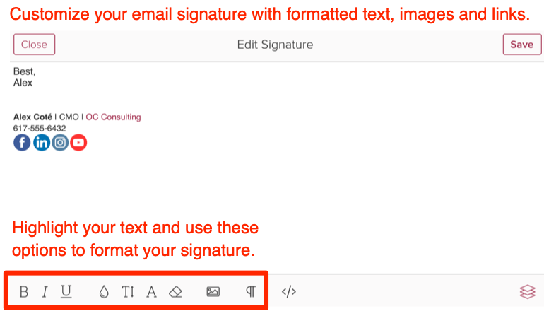 How do I edit my email signature and greeting?