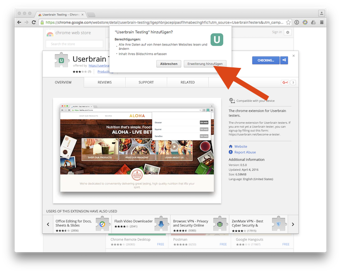 How to install the Userbrain Google Chrome Extension