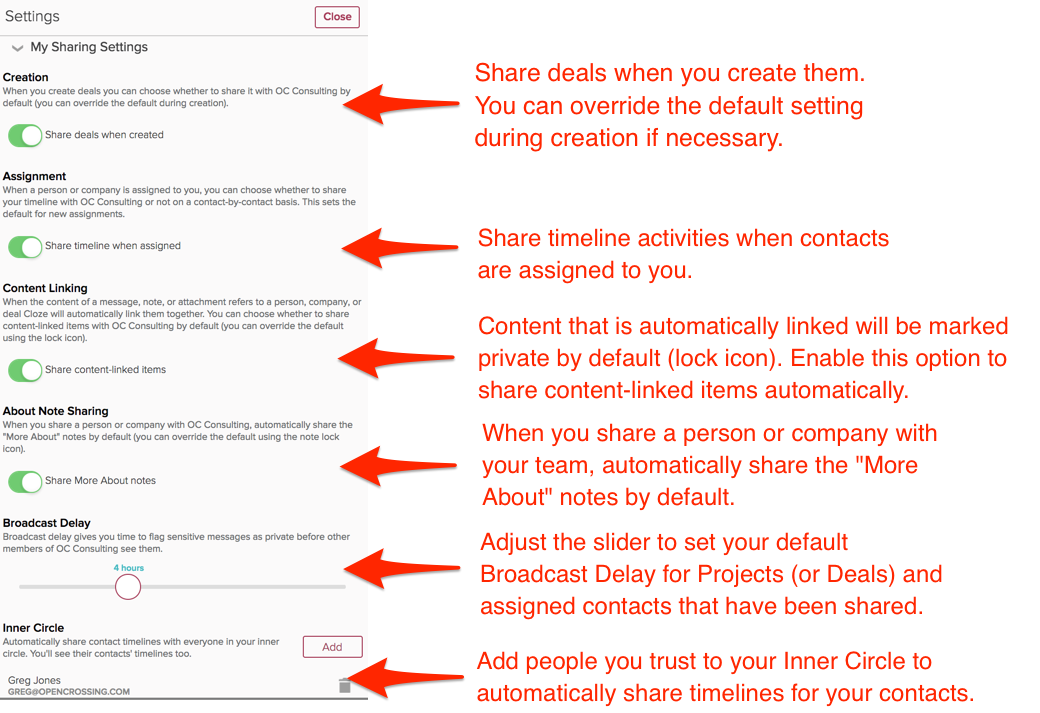 How do I set my default sharing settings? | Cloze, Inc
